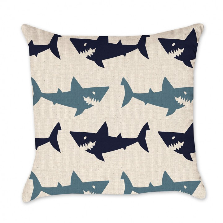 shark art pillow cover