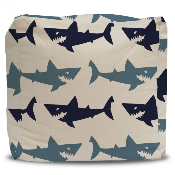 Pouf and Cover Blue Sharks