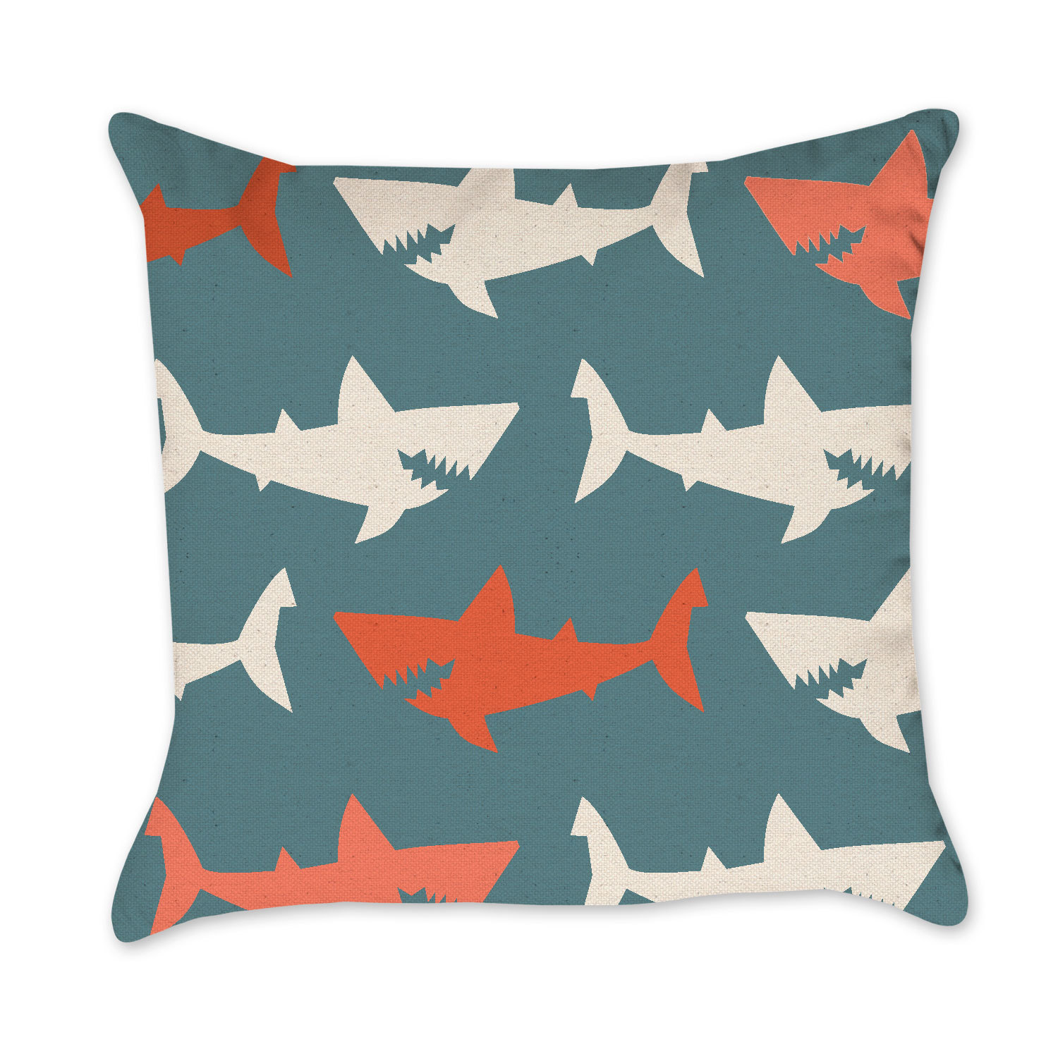 Shark Pillow shark pillow cover turquoise and orange