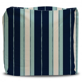 striped pouf navy