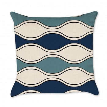 waves hand drawn pillow cover