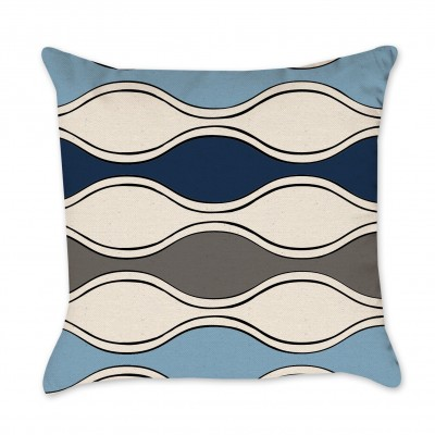 waves pillow cover navy