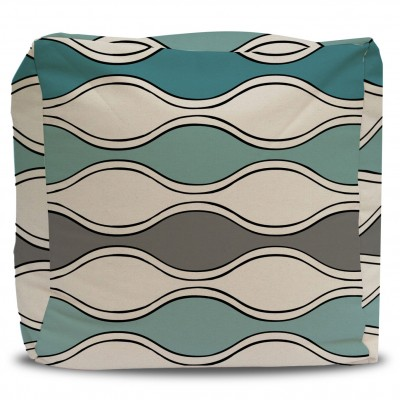 Pouf and Cover Turquoise and Gray Mod Waves