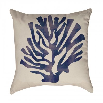 Navy Blue  Coral Pillow Cover