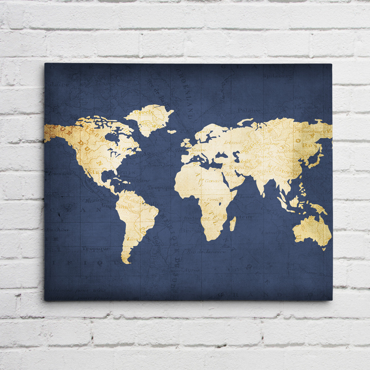 ... Wall Art In Blue Navy Blue Map Print ...
