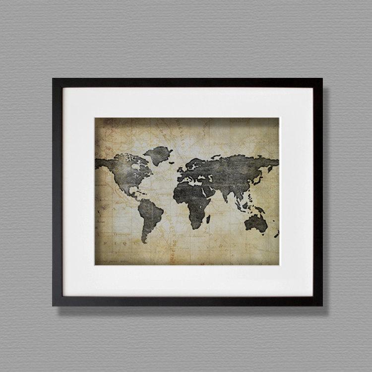 World Map Side View Wallart World Map ...
