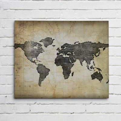 world map black print