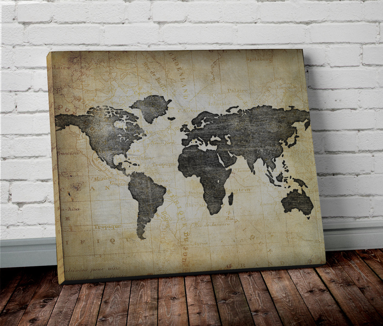 world map side view