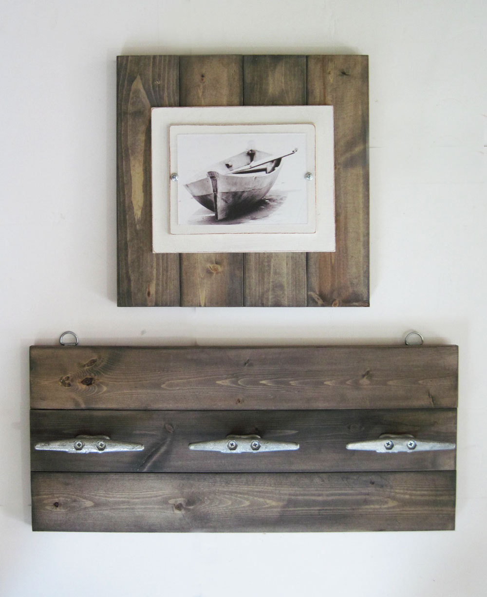 boat frame 14x14 plank frame with driftwood stain with clea