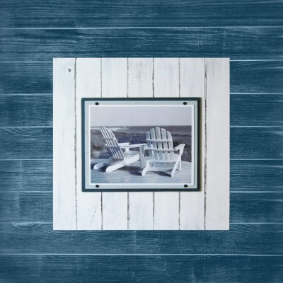 2X2 Plank Frame Distressed Whit