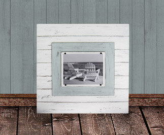 2'X2' Plank Frame for an 8x10 PHOTO White and Seafoam