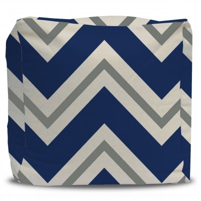 Navy Blue and Gray Chevron Pouf Ottoman