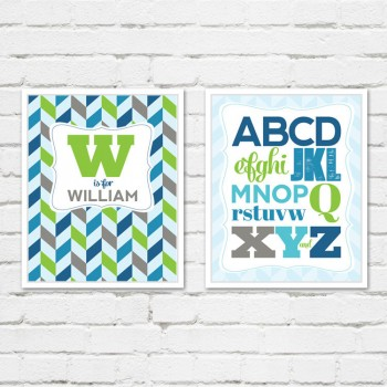 Alphabet Wall Art in Green, Blue, Gray and Navy