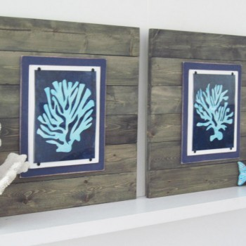 Coral Wall Art Set of 2 Driftwood Framed 8x10 Graphic Prints Xtra Large 21X21