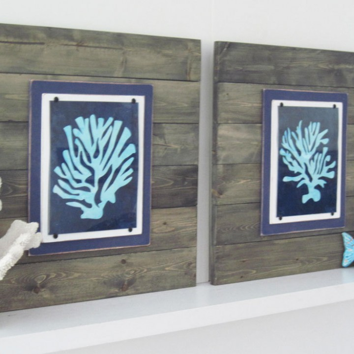 Coral Wall Art Set of 2 Driftwood Framed 8×10 Graphic Prints Xtra Large 21X21