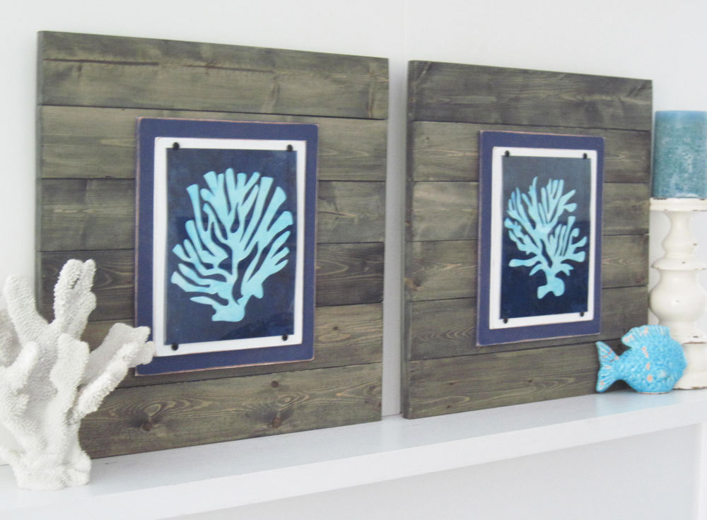 Framed Wall Art Set Of 2 coral wall art - set of 2 driftwood frames- project cottage