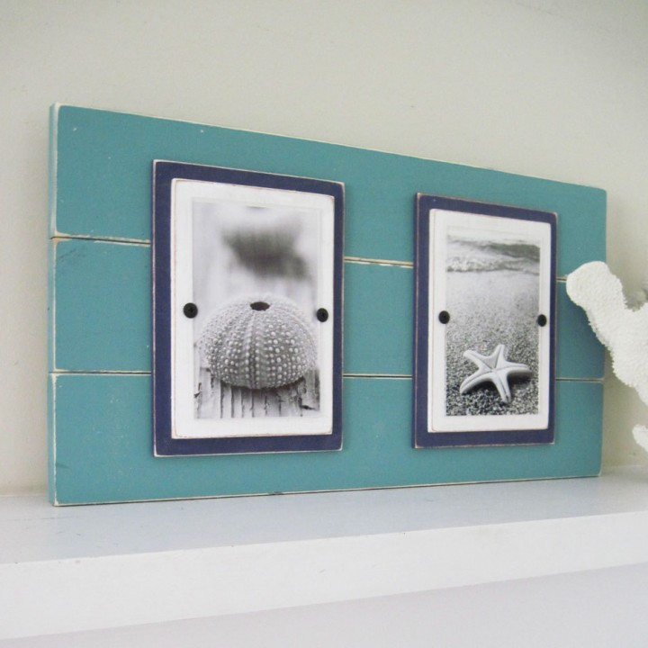 Distressed Double Plank Frame for 4×6 Pictures Turquoise and Navy