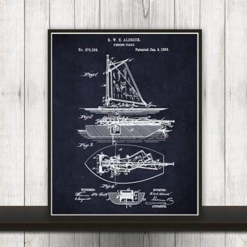Fishing Boat Patent Print