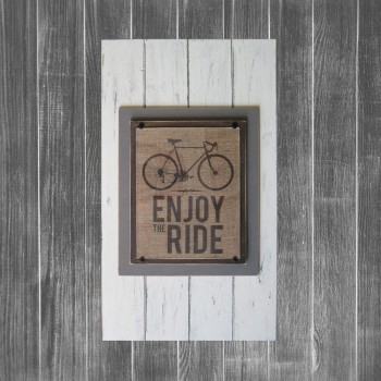 Framed Burlap Bike Print Planks Rustic Industrial