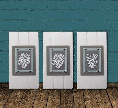Framed Coral Silhouettes