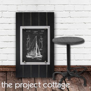 Framed Sailboat Patent Print 11X14 Big Rustic Industrial Distressed Planks