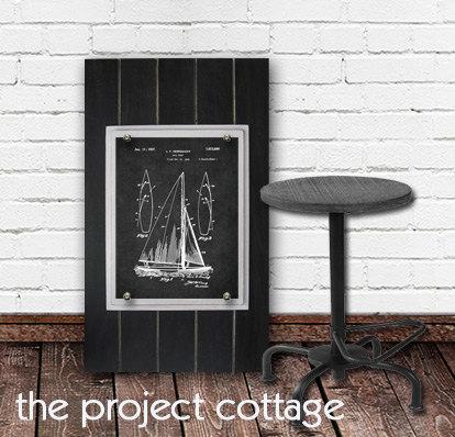 Framed Sailboat Patent Print 11X14 Big Rustic Industrial Distressed Planks