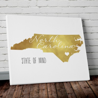 NC gold foil wall art