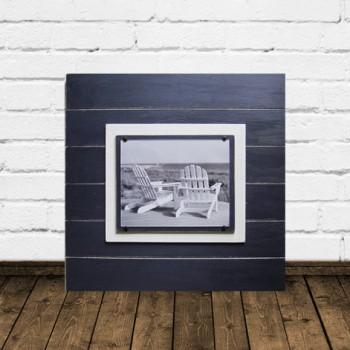 Navy Blue Distressed 8x10 Plank Frame 21X21