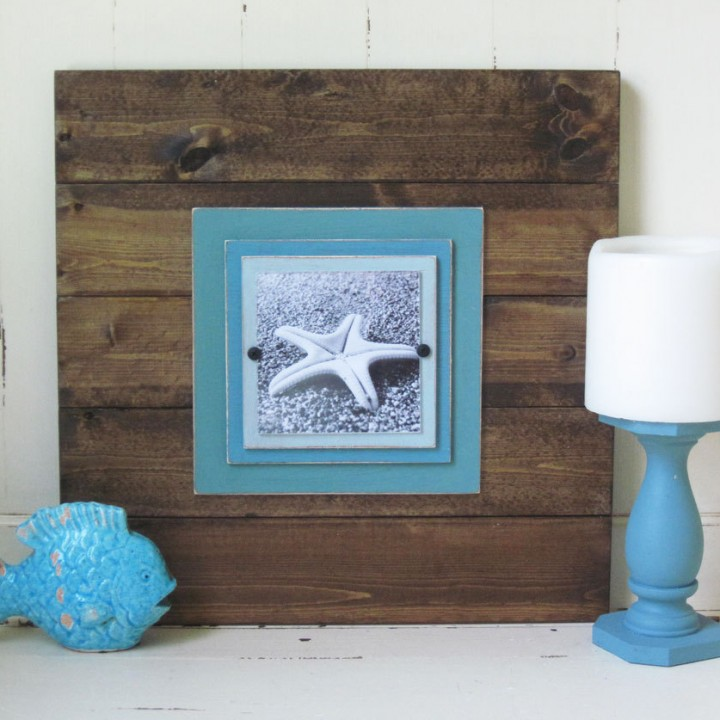 Plank Frame 17×17 for 5×5 Picture Dark Wood and Turquoise Mats