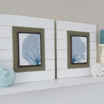 Sea Fan Wall Art Set of 2 White Framed 8x10 Xtra Large 21X21