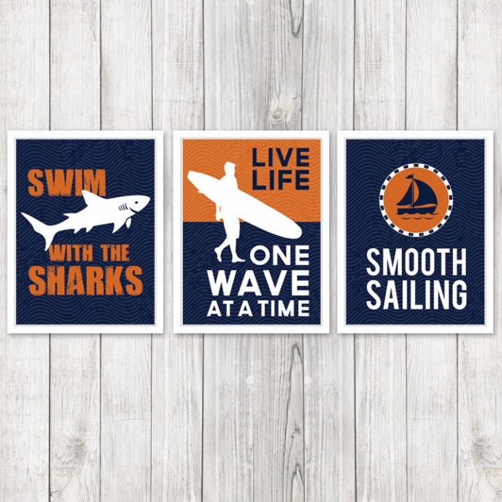 Set of 3 Kids Surf Room Prints