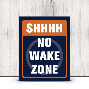 Shhhh No Wake Zone Nursery Print in Navy Blue and Orange