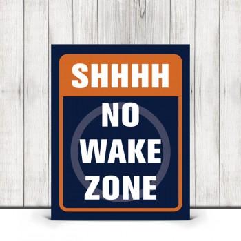 Shhhh No Wake Zone Nursery Print in Navy Blue and Orange