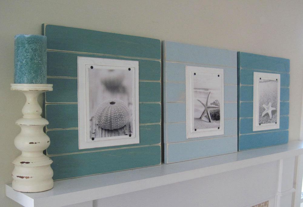aqua navy blue plank frame