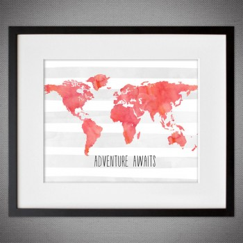 Watercolor Coral WORLD MAP