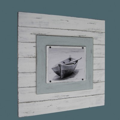 White and Seafoam plank frame