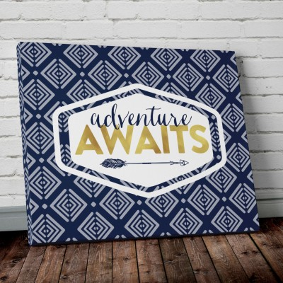adventure navy blue canvas print