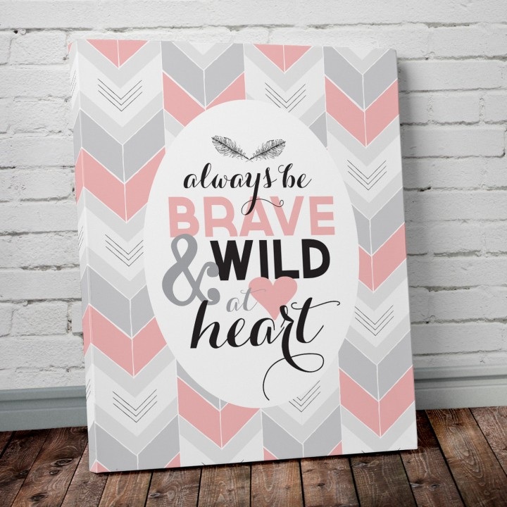 be brave pink canvas print