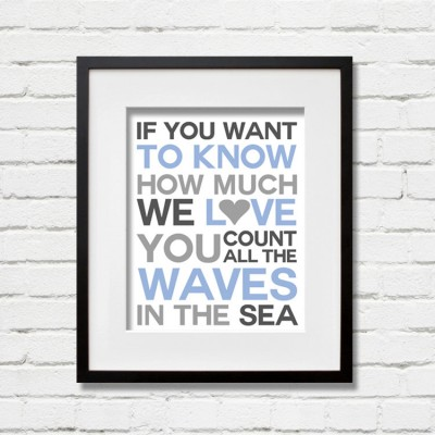 blue waves print