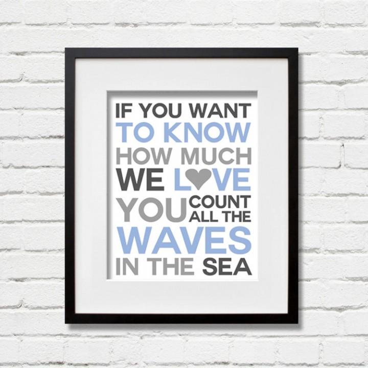 blue waves print