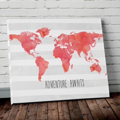 canvas world map print