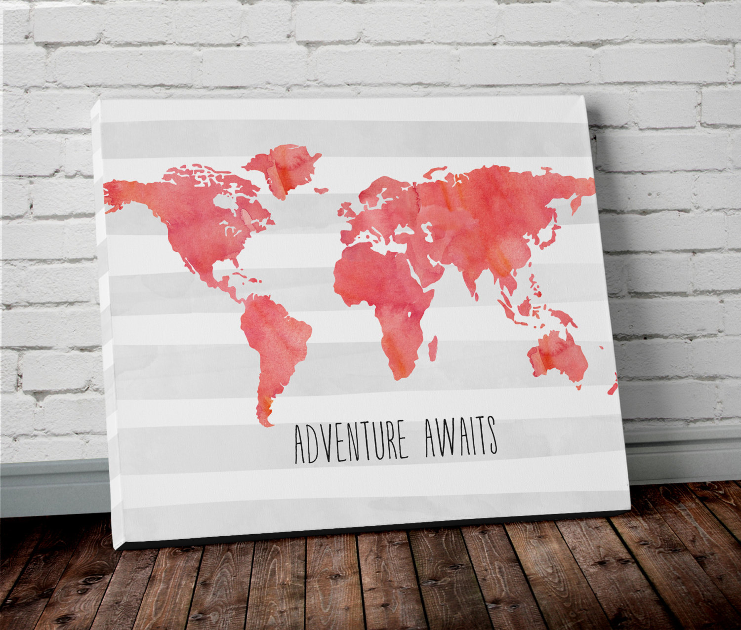 Watercolor world map wall art in blue project cottage canvas world map print gumiabroncs Gallery