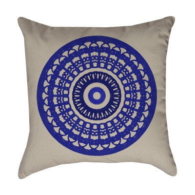 cobalt blue medallion pillow cover