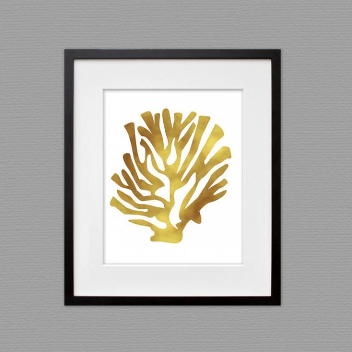 coral gold print