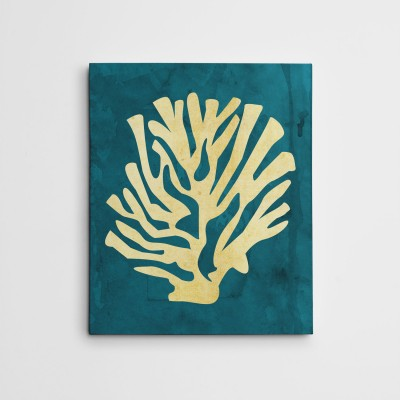 coral on teal print