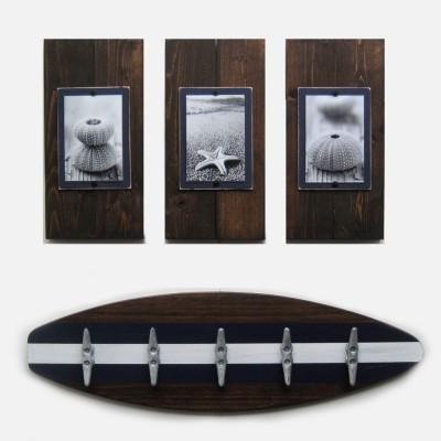dark stain plank frames