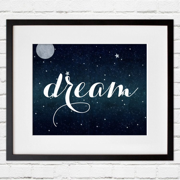 Dream Wall Art set of 4 stars and moon wall art - dream, shine- project cottage
