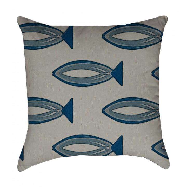 fish pillow cover hand drawn