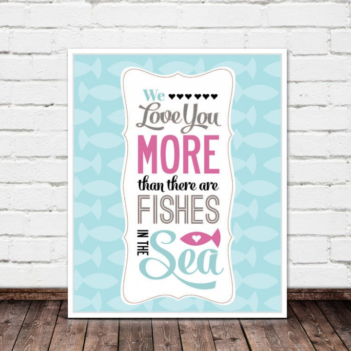 fishes in the sea pink print