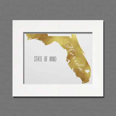 florida gold foil wall art